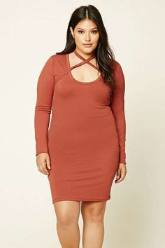 Forever 21 FOREVER 21+ Plus Size Bodycon Choker Dress