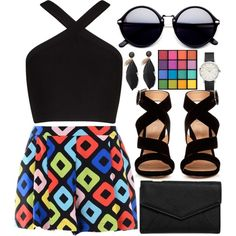 Extreme Color Pop by egordon2 on Polyvore featuring BCBGMAXAZRIA, Boutique Moschino, Gianvito Rossi, LULUS and NYX