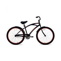 "Mens Cruiser Bike Beach Mountain Trail Fitness 26"" Black Orange Bicycle Sports"