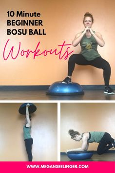 The Bosu ball workouts really challenge your balance, helps build core strength, great for leg workouts and ab exercises. Try this free 10 minute workout routine on the bosu ball to strengthen your bootie and core. Read more to get the full details. #coreworkouts #workoutroutines Ball Workouts, Leg Workouts, Weight Training Workouts, Ab Exercises, At Home Workouts, Best Gym Workout, Full Body Workout At Home, 10 Minute Workout, Easy Workouts For Beginners