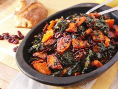 Make-Ahead Roasted Squash and Kale Salad With Spiced Nuts, Cranberries, and Maple Vinaigrette