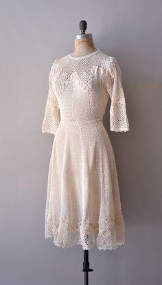 r e s e r v e d1970s crochet dress / 70s knit dress by DearGolden