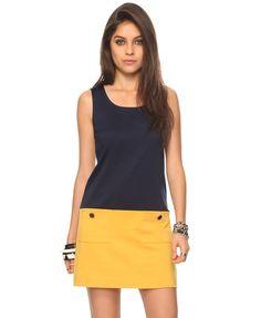 Colorblock shift dress in navy/mustard