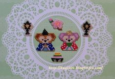 HUG ~わたしのすきなもの日記~ Perler Patterns, Peyote Patterns, Beading Patterns, Seed Bead Jewelry, Seed Bead Earrings, Beading For Kids, Beaded Cross Stitch, Kawaii, Duffy The Disney Bear