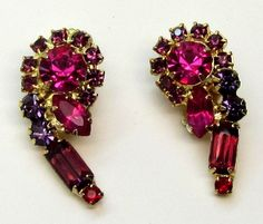 Vtg Verified D&E Juliana Pink Purple & Red Rhinestone Gold Earrings #Juliana #DropDangle