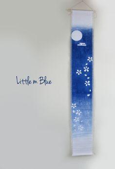 Aizome, shibori, indigo dye - Noren; Japanese wall hanging with Katazome shibori by Little m Blue.