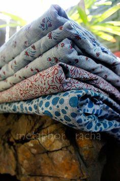 indigo and madder colored printing on khadi chambray.