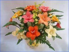 crochet flower arrangement   Floral Arrangements and Crocheted Flowers