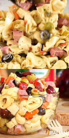 Muffaletta Tortellini Salad is all your favorite things about a pasta salad and the classic Italian flavors of the Muffaletta sandwich rolled into one amazing summer salad. An easy recipe that you will be making all year long. Tortellini Recipes, Pasta Salad With Tortellini, Pasta Recipes, Gourmet Recipes, Cooking Recipes, Cold Pasta Salads, Cold Macaroni Salad, Crab Pasta Salad, Summer Salads
