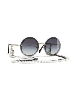 Shop Round Sunglasses by CHANEL. - Sunglasses - Shop Round Sunglasses by CHANEL. Round Lens Sunglasses, Flat Top Sunglasses, Cute Sunglasses, Sunglasses Shop, Cat Eye Sunglasses, Sunglasses Women, Chanel Glasses, Lunette Style, Fake Glasses