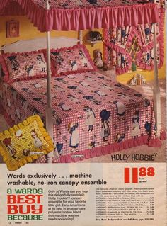 "My entire childhood bedroom was Holly Hobbie"" 1970s Childhood, My Childhood Memories, Vintage Advertisements, Vintage Ads, Retro Ads, Vintage Linen, Ed Vedder, Before I Forget, Holly Hobbie"