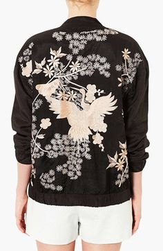 Interesting take..Topshop 'Chinoiserie' Embroidered Bomber Jacket | Nordstrom