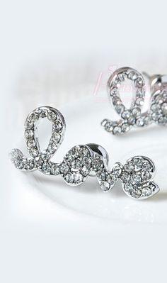 Exquisite love letters Rhinestone earrings
