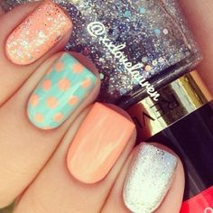Cute peach & aqua with silver accent nail art!