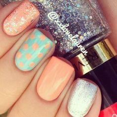 Cute peach & aqua with silver accent nail art!