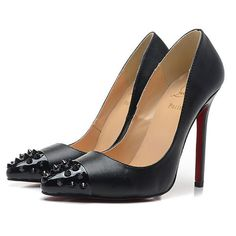 classic red bottom pumps with black spikes leather black | heels sale ✿ ☺