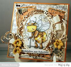 Whiff of Joy Digistempel Retirement Bee combinated with two new digital papers by Whiff of Joy
