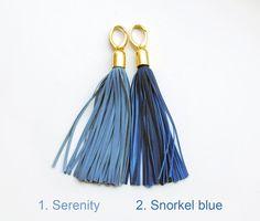 Leather Tassel, Serenity and Blue large tassel keychains Leather Tassel, Soft Leather, Snorkel Blue, Keychains, Pantone, Different Colors, Serenity, Tassels, Purses