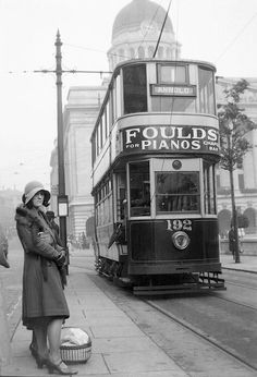 when a different tram roamed & a different lady waited, Nottinghamshire, Early London Transport, Public Transport, Old Pictures, Old Photos, Nottingham City, Nottingham Council, Nottingham Lace, Old Train Station, Train Stations