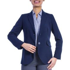 George Women's Plus-Size Classic Career Blazer, Size: 20W, Blue