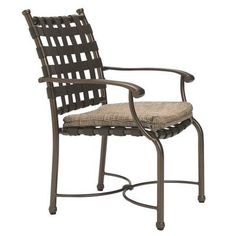 Tropitone Sorrento Patio Dining Chair with Cushion Finish: Parchment, Fabric: Sparkling Water
