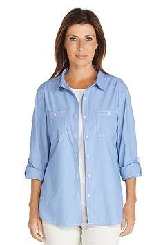 Light Chambray Shirt  Sun Protective Clothing - Coolibar 6fca098c484b