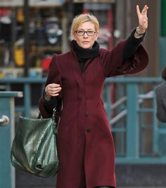 Cate Blanchett in wine coat