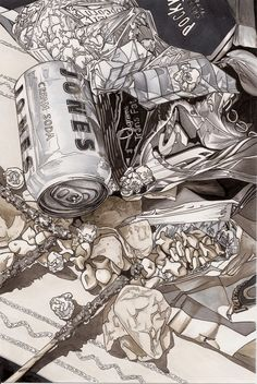 Junk Food Junk Food Still Life by GreenLocket on DeviantArt Cool and warm grey marker - Ap Drawing, Object Drawing, Still Life Drawing, Still Life Art, Drawing Skills, Observational Drawing, Ap Studio Art, Expressive Art, A Level Art