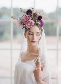 Purple plum and lavender florals were used as decor and flower crowns for this French fashion shoot. We love the contrast against the delicate white lace of the wedding veils and lingerie. Beach Wedding Hair, Chic Wedding, Trendy Wedding, Floral Wedding, Wedding Stuff, Wedding Flowers, Dream Wedding, Chignon Wedding, Wedding Veils
