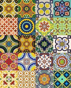 Etiqueta conjunto azulejo mexicano etiquetas engomadas del