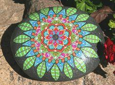 Hand Painted Stone Mandala Design on Round by HiddenHorseRocks