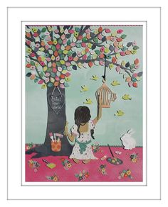 """This world is the canvas of your imagination, paint your life the way you like...""  This is a signed and dated print from an original 3D paper cut wall art by Roxyoxy Creations. This would make a lovely gift or look amazing framed up and added to any child's bedroom/play room wall.  Please allow variations of colour from screen to print."