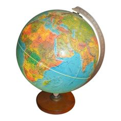 Beautifully lights up the room! Great addition to a library or just a great gift for a globe lover. Theme Park Map, Globe Light Fixture, Zoo Map, Vintage Globe, Map Globe, Alien Worlds, Fantasy Map, World Globes, Late 20th Century