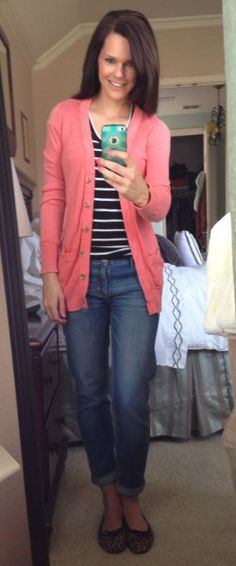 Casual outfit - boyfriend cardigan, striped t-shirt, boyfriend jeans and leopard flats.  http://getyourprettyon.com/selfie-style-diary-a-meet-up-and-blog-news/