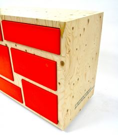 Red lamiinate and Spruce ply- Drawers I