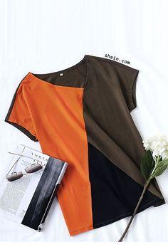 Colorblock One Shoulder T-shirt
