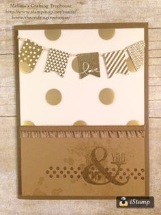 DIY, handmade, card,using the Perfect Pennants stamp set, the banner punch and gold embossed specialty vellum by Stampin' Up!. Heat embossing was used for the banners and words. This is part of my retiring products showcase.