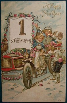 Happy New Year Postcard Vintage Happy New Year, Happy New Year Images, Happy New Year Cards, New Year Greeting Cards, New Year Greetings, Vintage Greeting Cards, Victorian Christmas, Vintage Christmas Cards, Vintage Holiday