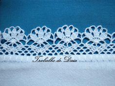 Foto: Trabalho nº 78 Thread Crochet, Crochet Trim, Knit Or Crochet, Filet Crochet, Crochet Motif, Crochet Stitches, Crochet Patterns, Crochet Boarders, Crochet Squares