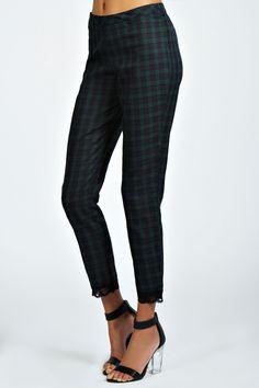 Tartan Lace Trim Cigarette Trousers
