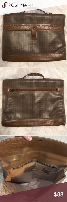 Vintage Charles Jourdan briefcase bag Vintage , NOT NEW . leather bag , 13x10, clean , no rips or holes , inside of handle has slight peeling due to it being vintage ,zipper pocket on the inside , 2 pen holders inside , back zippered pocket , front pocket too , no shoulder strap , awesome condition , vintage in good condition , not a new bag Charles Jourdan Bags