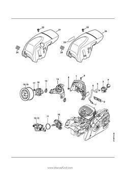Stihl MS 291   Parts List Engine House, Tool Roll, Ignition System, Spark Plug, Pictogram, Ms