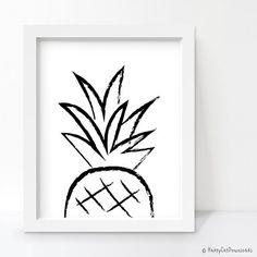 Pineapple Print, Pineapple Decor, Black and White Art, Minimalist... ($5) ❤…