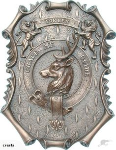 """This wall mounted Forbes clan crest measures 12"""" x 9"""" (30cm x 23cm) and is handmade in Cold Cast Bronze.Forbes Scottish Clan Family Crest 