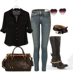 black button up ,skinny jeans and boots