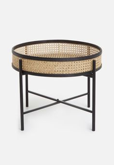 Update your living space with a versatile piece of furniture. This side table features industrial-looking metal legs and a rattan top ideal for holding your snacks or favourite magazines. Wooden Furniture, Outdoor Furniture, Outdoor Decor, Shop Furniture Online, Rattan Side Table, Home And Living, Living Spaces, Flooring, Interior Design