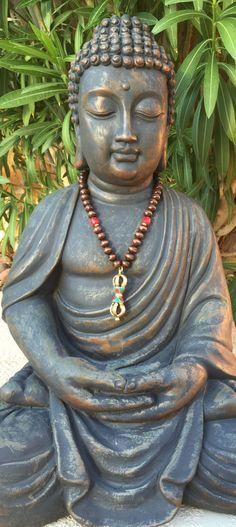 Long Brass Dorje vajra Pendant Necklace - Wood and Coral Necklace - Yoga - Meditation-Jewelry - Unisex Necklace by OliviaLolaBijoux on Etsy