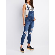 Charlotte Russe Destroyed Denim Overalls ($30) ❤ liked on Polyvore featuring jumpsuits, indigo, skinny overalls, overalls jumpsuit, shorts overalls, denim jumpsuits and short overalls