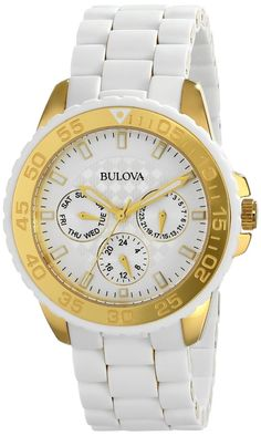 women s watches Review product Bulova Women s 98N102 White Rubber Wrapped  Stainless-Steel Bracelet Watch Reloj bf9148accf4b