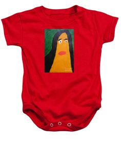 Patrick Francis Red Designer Baby Onesie featuring the painting Portrait Of Woman With Hair Loose 2015 - After Vincent Van Gogh by Patrick Francis
